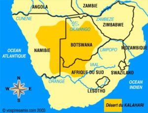 Le Kalahari à cheval sur trois pays : Namibie, Botswana, Afrique du Sud