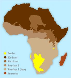 Répartition des San (territoire en jaune)