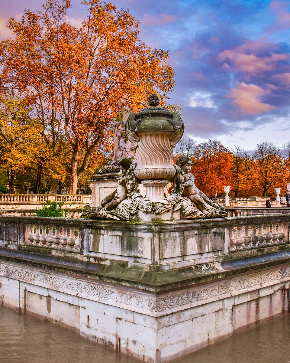 Fontaines de Nîmes - coucher de soleil - L'Oasis du Nat